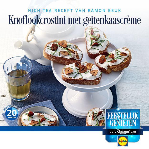 Recept voor knoflookcrostini met geitenkaascrème  #Lidl #Kerst #crostini #HighTea