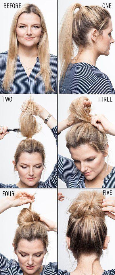 Messy Bun Hacks, Tips, Tricks, Hair Styles for Lazy Girls, How To #Bun #girls #hacks #Hair #Lazy