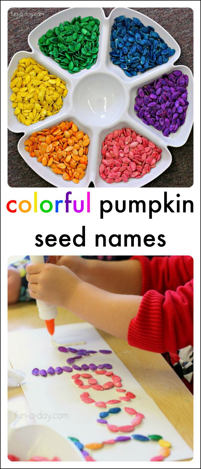 Rainbow pumpkin seeds name activities for kids to try today