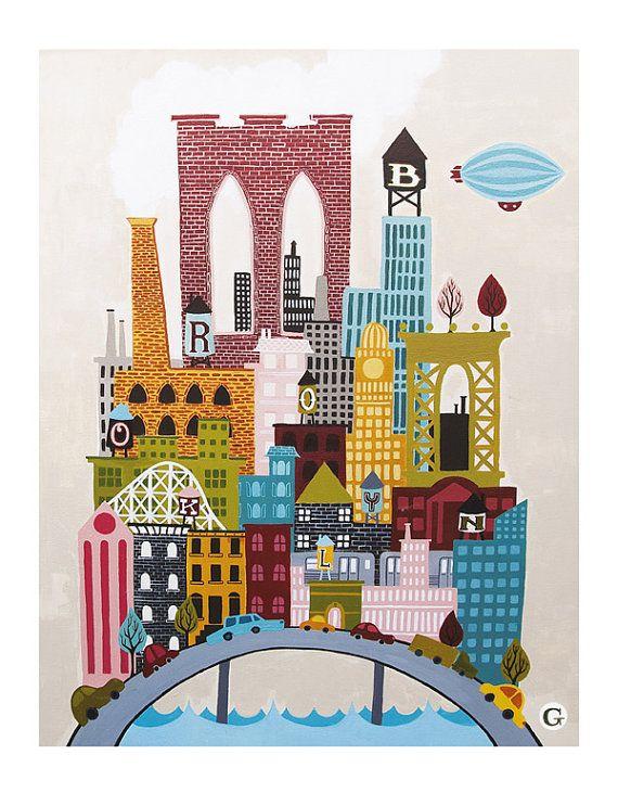 Big Brooklyn: Water Towers, Illustrations Art, Brooklyn Art, Brooklyn Nyc, Big Brooklyn, Brooklyn Prints, Prints Large, Brooklyn Illustrations, The Originals