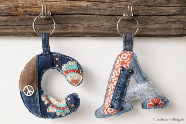 Jeans, Denim, Recycling, Upcycling, Schlüsselanhänger, nähen, sewing,keychains, Gratis Anleitung, free tutorial