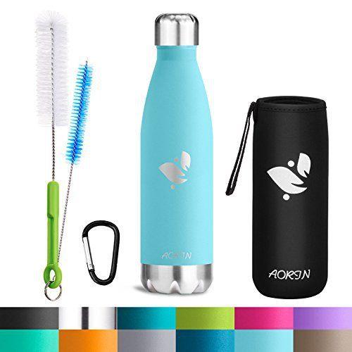 Aorin 17oz Double Wall Vacuum isolé bouteille d'eau en acier inoxydable pour garder vos boissons chaudes et froides Parfait pour les sports…