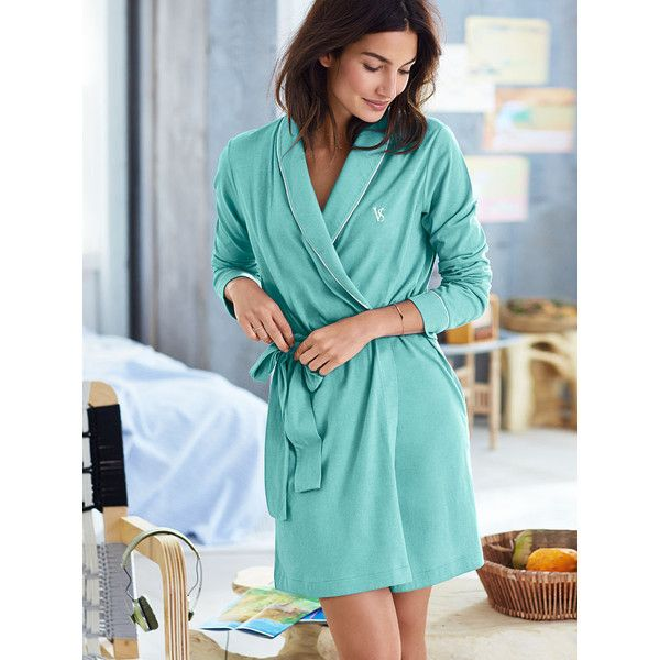 Victoria's Secret Sleepover Cotton Knit Robe ($45) ❤ liked on Polyvore featuring intimates, robes, blue, victoria's secret, embroidered robes, blue robe, victoria secret robe and cotton knit robe
