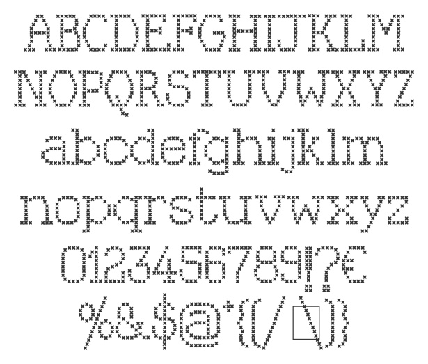 Kingthings Xstitch, free font, designed by Kevin King from Kingthings, via Font Squirrel.