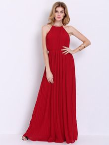 Wine Red Evening Sleeveless Halterneck Pleated Infinity Maxi Dress -SheIn(Sheinside)