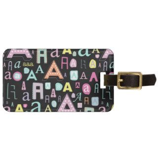Monogram initial A Tags For Bags