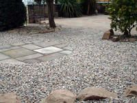 York stone circle with 20mm gravel scree area and cobbles