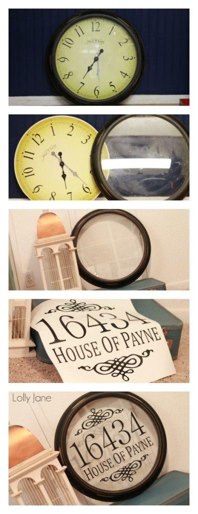 DIY CLOCK: Take out backing, wipe down, add vinyl lettering = DIY address sign! via lollyjane.com