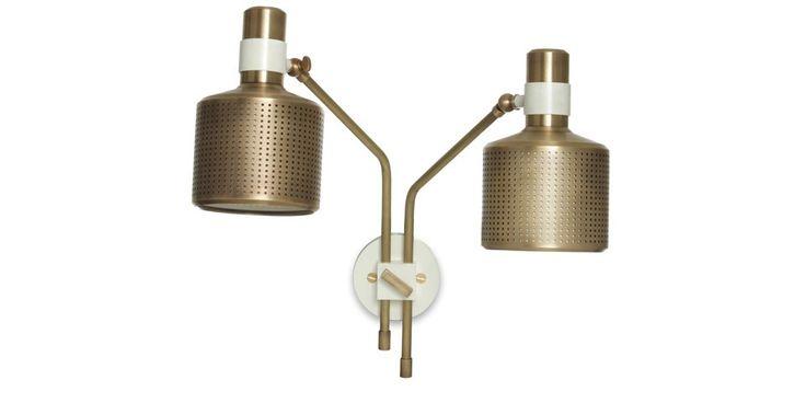 Bert Frank Riddle Wall Lamp - Brass & Matte Old English White