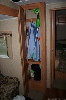 RV Living - Coat Closet is a Perfect Place to Store the Soda Stream Machine (no electricity needed, just a little tap water makes a delicious bubbly beverage on the road) #BubblesMyWay