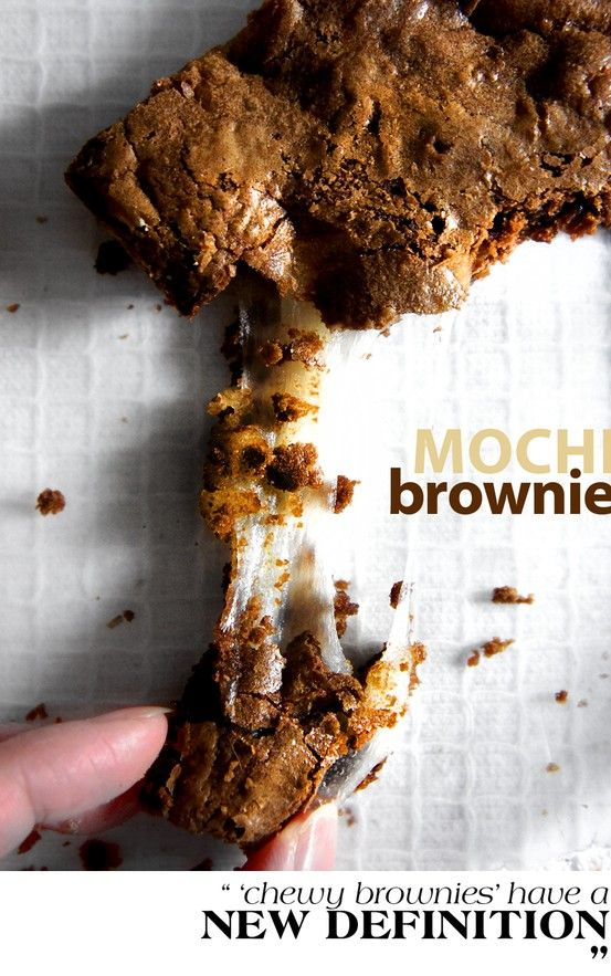 MOCHI BROWNIE 嘛薯布朗尼////This sounds amazing but then again I have a slight obsession with mochi. <3 Mochi is rice pounded until it becomes a sticky dough like substance. It is very chewy and can be served in many ways. This sounds like a fun sweet version that I can't wait to try. XD