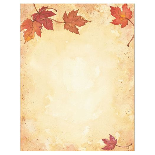 Featuring a beautiful and subtle background, with falling autumn leaves at the top and bottom of the sheet, Fall Leaves Autumn Border Computer Printer Paper is great for use as letterhead, party invitations, announcements, fall sales flyers, restaurant menus, posters, and much more.