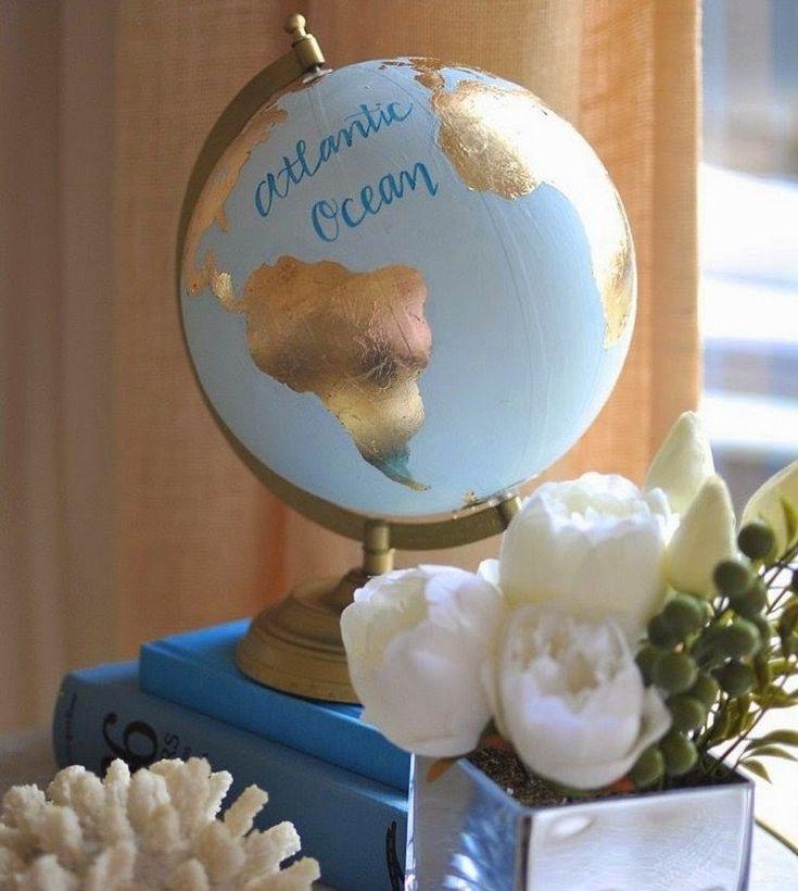 ... avec un globe terrestre  Pinterest  Basteln, Decoration et Globes