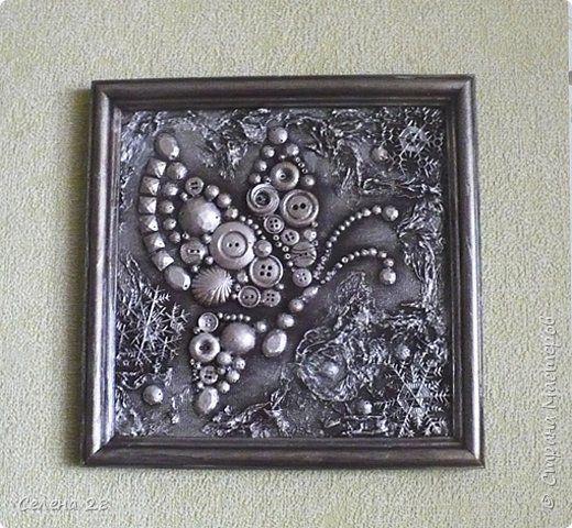 Декор предметов Картина панно рисунок Аппликация Волшебная коллекция  Бумага Монета Пуговицы фото 9