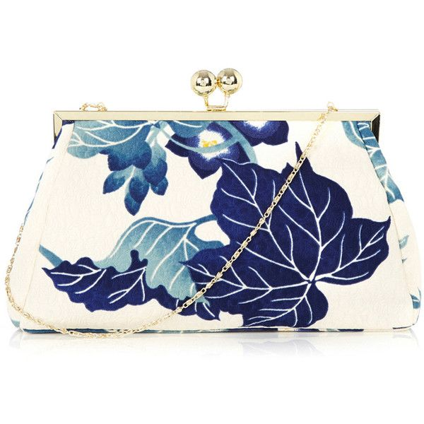 OASIS Maple Leaf Clutch (2525 DZD) ❤ liked on Polyvore featuring bags, handbags, clutches, purses, multi, blue purse, pattern purse, chain handbags, blue hand bag and chain purse