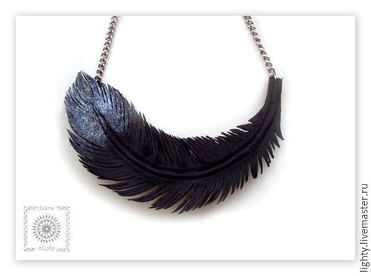 """Купить Кожаное ожерелье """"Перо"""", колье из кожи - кожа натуральная, ожерелье из кожи, бохо украшения"""