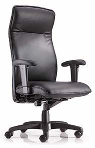 Modern leather high back chair with adjustable arms
