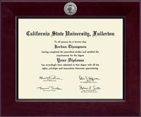California State University Fullerton Diploma Frame - Showcases a silver engraved medallion of the California State University Fullerton seal. Shown in our high-gloss Cordova moulding crafted of solid hardwood with a cherry finish.