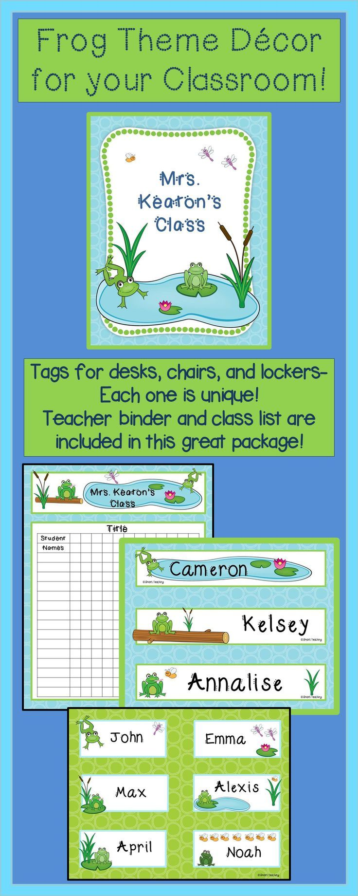 This frog theme package will make your room look great! Each name tag and desk tag is unique. It includes a binder cover, class list sheet and a welcome banner. There is also a Spanish bienvenidos banner. Everything in the package is editable. Your students will love it! $