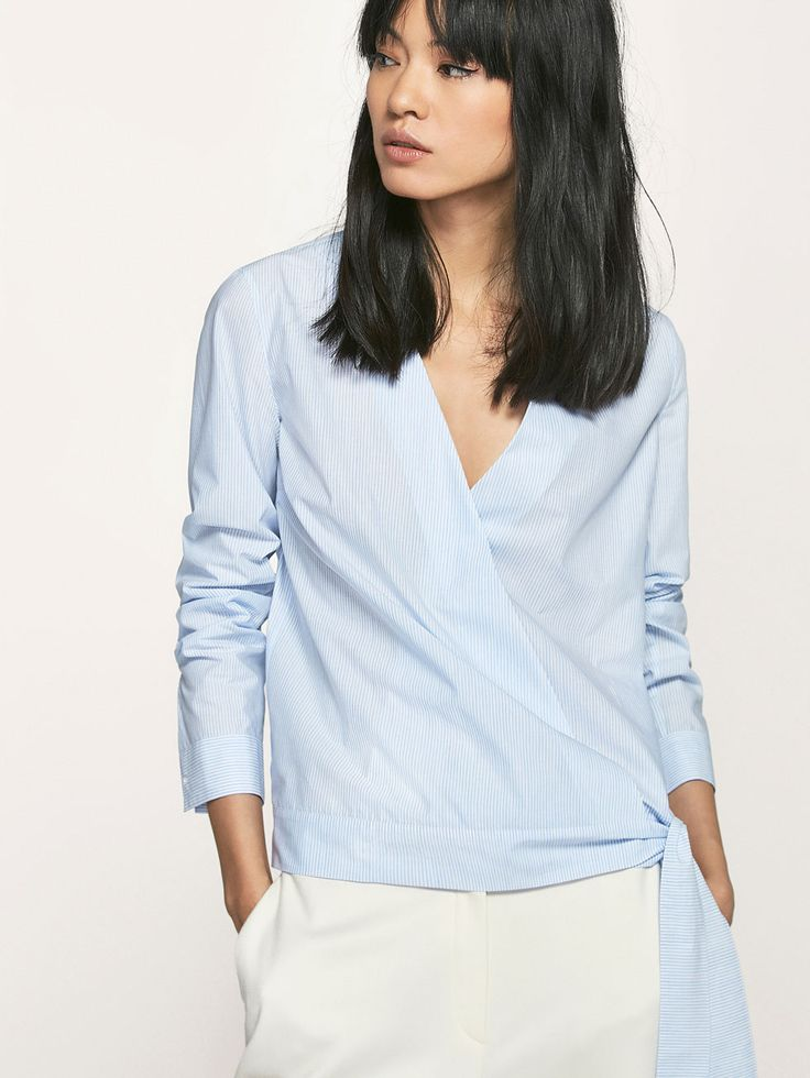 Autumn Spring summer 2017 Women´s CROSSOVER SHIRT WITH TIE at Massimo Dutti for 69.5. Effortless elegance!