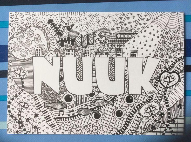 About Nuuk A5 postkort tegnet af kreatossen. Se flere billeder og størrelser på www.kreatossen.dk