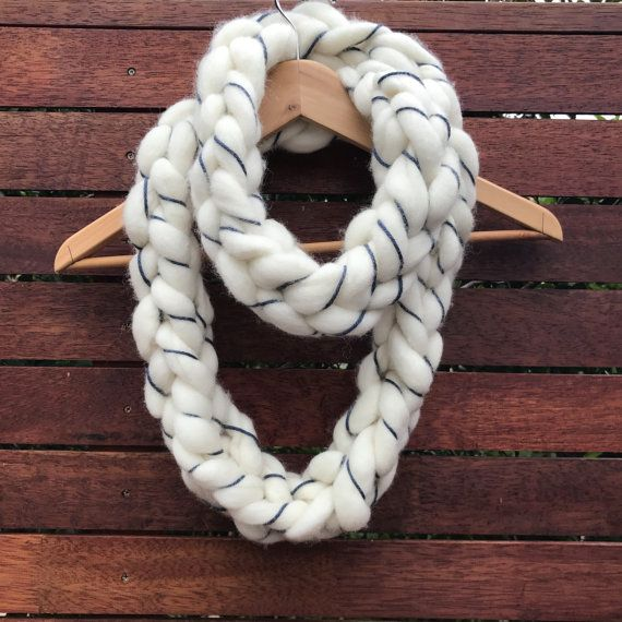 Cream/Blue limited edition handmade super chunky by ElvieWithLove