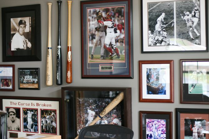 sports themed gallery wall via seejaneblog