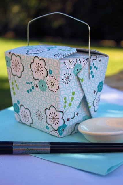 Chinese take-out box covered in scrapbook paper tutorial - could use to give cookies or as a gift bag