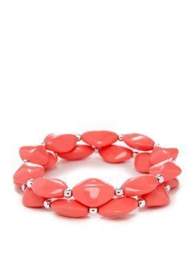 Kim Rogers  Coral Flat Oval Bead Stretch Bracelet