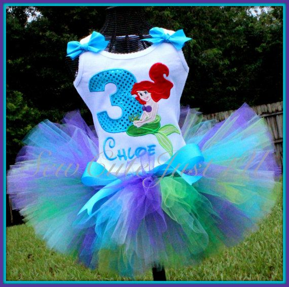 LIttle Mermaid Birthday Number Tank and Tutu Set