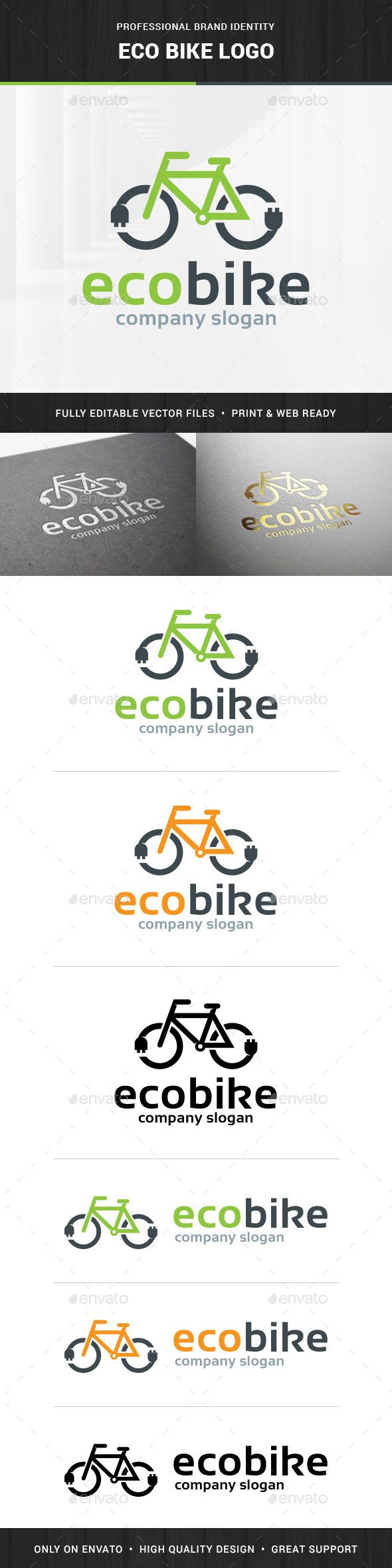Bike stickers design discover - Eco Bike Logo Design Template Vector Logotype Download It Here Http