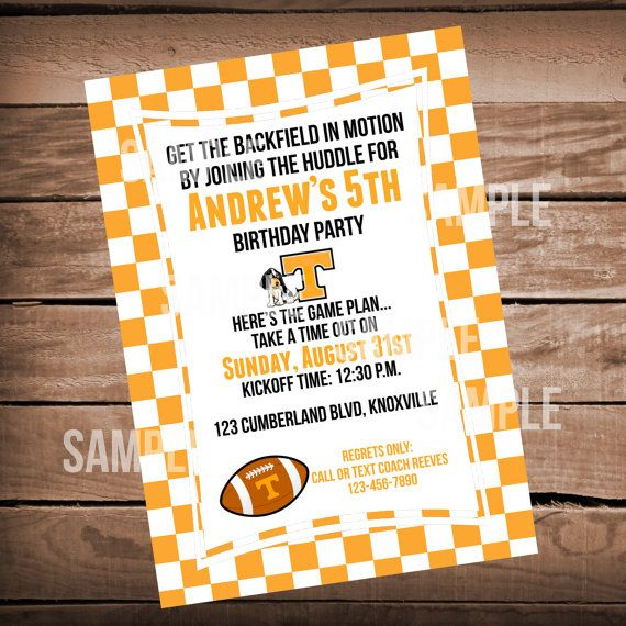 Tennessee Vols Football Birthday Invitation with Checkerboard or Chevron on Etsy, $9.99