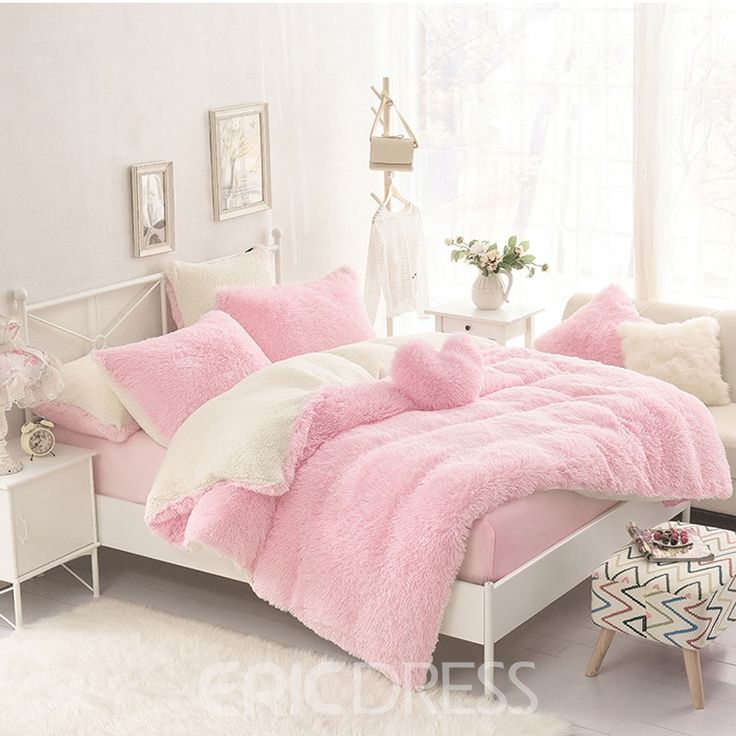Vivilinen Solid Pink and Creamy White Color Block 4-Piece Fluffy Bedding Sets/Duvet Cover 13096177 - Ericdress.com