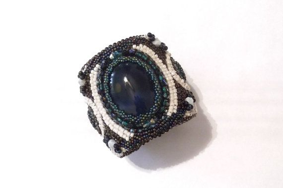 Bead embroidered cuff bracelet beaded statement by GabileriaHM
