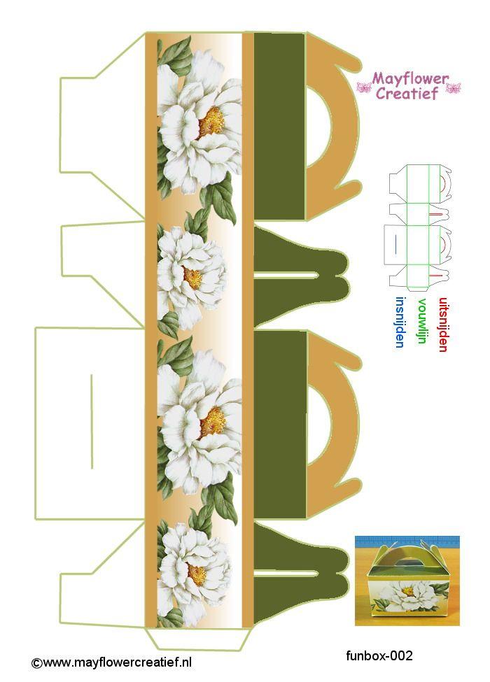 Printable Green & Gold Floral Box