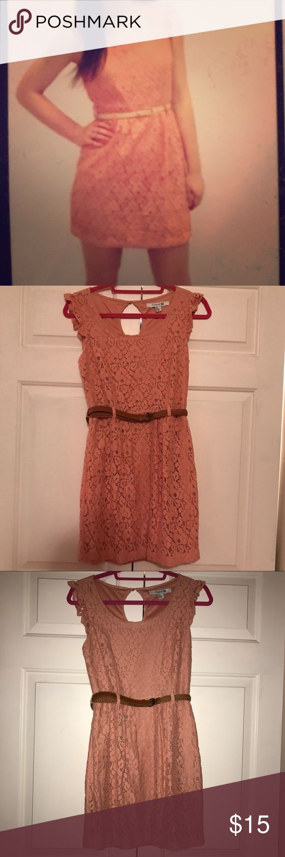 Forever 21 coral lace dress This cute dress was only worn one time! Cute coral lace material all over with cute ruffle detail on the strap. Has a zipper on the back and a keyhole cutout with a button. Belt included! (This is not the belt that came with the dress, but still goes really well).  Perfect for every day, going out for dinner, a party, or anything in between! Goes great with a cute pair of heels, flats, or sandals! Forever 21 Dresses