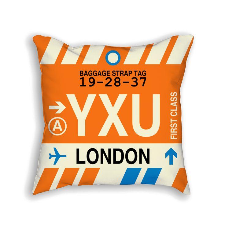 YXU London Airport Code Baggage Tag Pillow