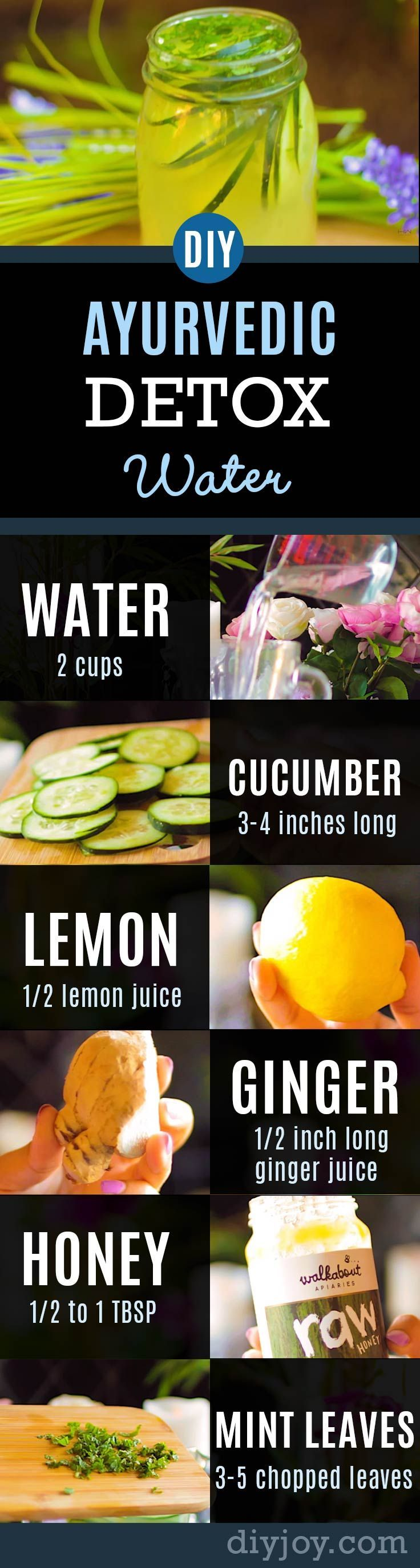 Ayurvedic Detox Water Recipe Promotes Healthy Body, Clear Skin, Weight Loss and Flat Belly, Anti-Aging | Healthy Recipes by DIY Joy Crafts http://diyjoy.com/ayurvedic-detox-water-weight-loss-anti-aging-recipe