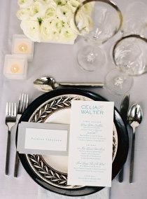 Black & White Wedding Place Setting - no blueTables Sets, Black And White, Menu Cards, Black White, Events Design, White Weddings, Wedding Events, Places Sets, Events Plans