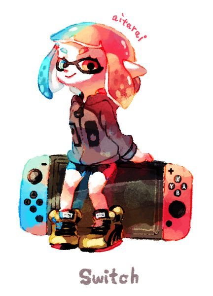 Nintendo Switch and Squid Girl from Splatoon  credits to the artist