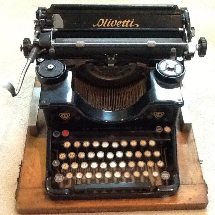 b291905ca135 RARE Antique 1933 vintage Olivetti Typewriter wood-mounted Model M40 with  ribbon #Olivetti