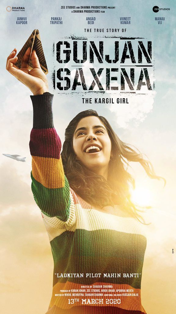 Poster Of The Kargil Girl Out Now Janhvi Kapoor As Gunjan Saxena Impresses Us In 2020 Bollywood Movies Top Rated Movies Movie Releases
