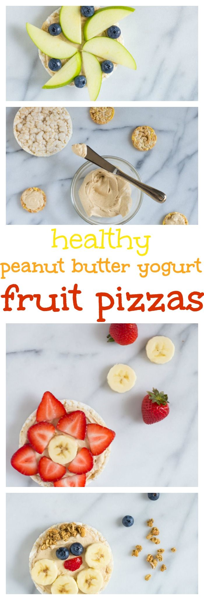 Healthy Peanut Butter Yogurt Fruit Pizzas. Perfect on the go breakfast or afterschool snack!