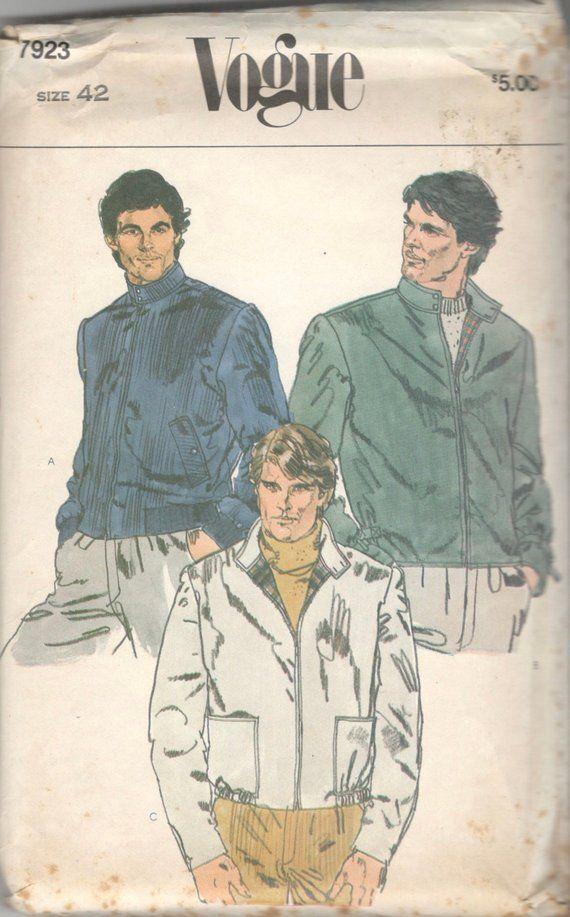 Vogue 7923 1980s Mens Zip Front Bomber Jacket Pattern Windbreaker Adult Vintage Sewing Pattern Chest 42 Uncut Patterned Bomber Jacket Jacket Pattern Sewing Zip Jacket Pattern