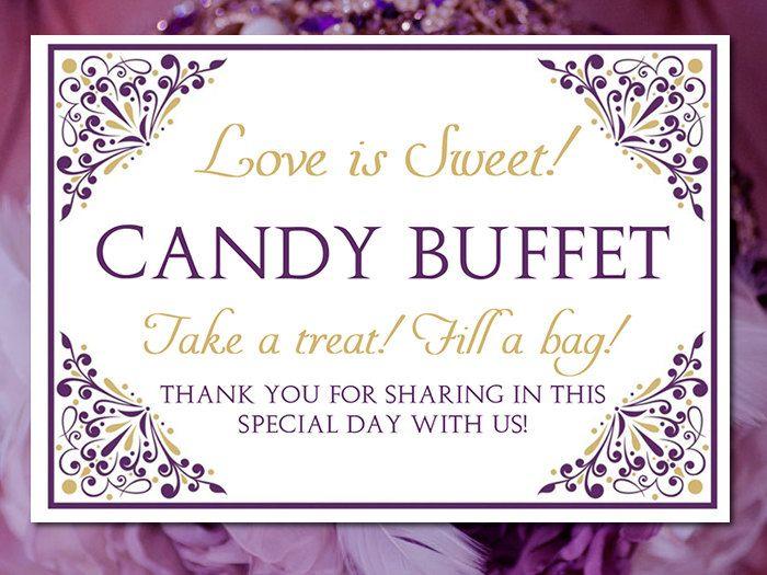 Candy Buffet Wedding Template Wedding Candy Bar Sign