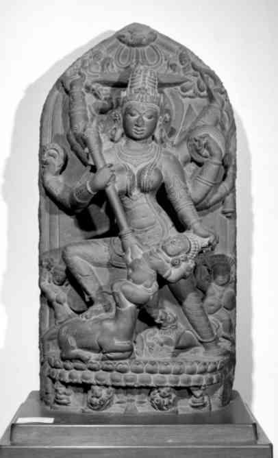 Durga Mahisasuramardini, black stone, ca. late 10th-early 11th H:33.5 in. Ashutosh Museum, Calcutta