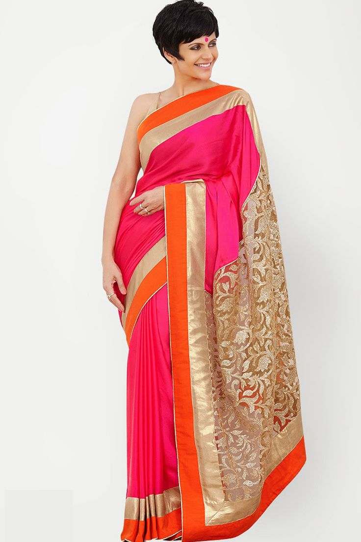 Buy Mandira Bedi Pink Day 2 LFW Summer Resort Bollywood Replica Saree Online at Best Price in India.