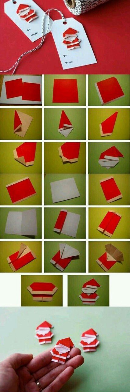 Image via We Heart It https://weheartit.com/entry/147285210 #diy #origami #Paper #red #santaclaus