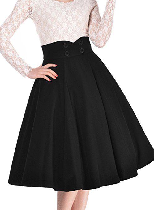 Miusol Women's Vintage High Waist A-line Retro Casual Swing Skirt #womensfashion  #skirts