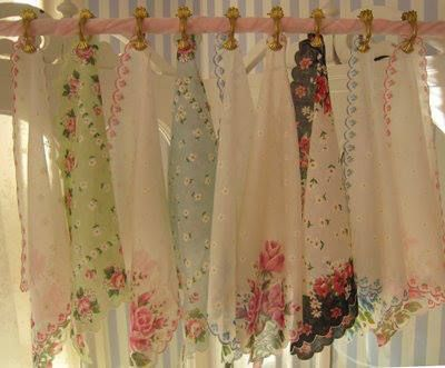 Curtains made with Vintage Handkerchiefs
